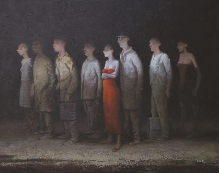La Robe Rouge – Huile/Toile – 73×92 cm